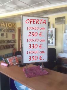4.ROTULO LUMINOSO A DOS CARAS, DE TIPO BANDEROLA RECTANGULAR, DE 3 MEDIDAS.  100 X 60 CM. .... 290,00 €, 100 X 70 CM. ... 330,00 €, Y 130 X 60 CM.  ... 350 € + IVA.
